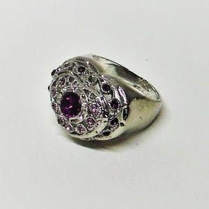Purple Gemstones Heart Shaped Fashion Ring